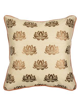 Beige-Rust Lotus Foil Print Silk Cushion Cover 16.5in x 16in