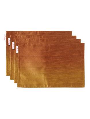 Brown-Mustard Bhagalpuri Silk Placemats (Set of 4) - 18in x 12in