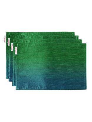 Green-Blue Bhagalpuri Silk Placemats (Set of 4) - 18in x 12in