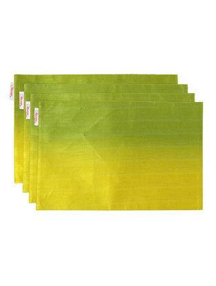 Green Bhagalpuri Silk Placemats (Set of 4) - 18in x 12in