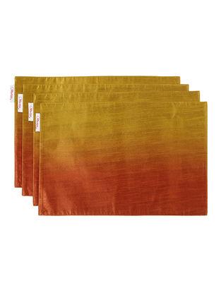 Orange-Mustard Bhagalpuri Silk Placemats (Set of 4) - 17.6in x 12in