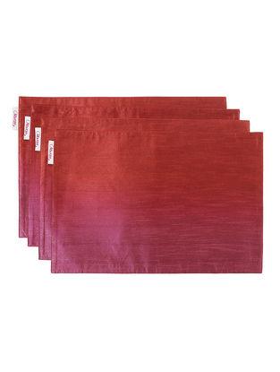 Pink-Red Bhagalpuri Silk Placemats (Set of 4) - 18in x 12in