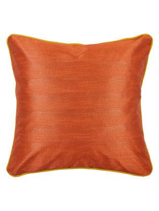 Yellow-Orange Bhagalpuri Silk Cushion Cover - 16.2in x 16.2in