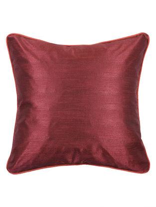 Maroon-Red Bhagalpuri Silk Cushion Cover - 16.2in x 16.2in