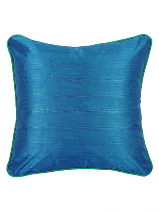 Blue-Green Bhagalpuri Silk Cushion Cover - 16.2in x 16.2in