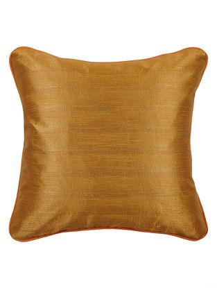 Rust-Mustard Bhagalpuri Silk Cushion Cover - 16.2in x 16.2in