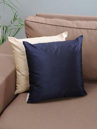 Navy Blue Silk Cushion Cover