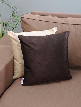 Brown Silk Cushion Cover