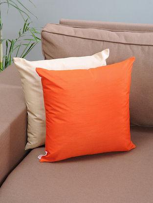 Orange Silk Cushion Cover