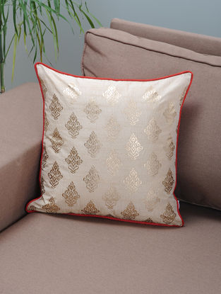 Ivory-Red Foil-printed Silk Cushion Cover