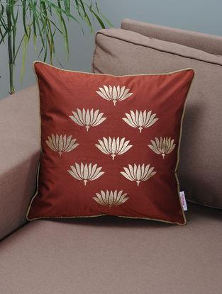 Maroon-Beige Foil-printed Silk Cushion Cover