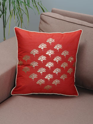 Red-Ivory Foil-printed Silk Cushion Cover