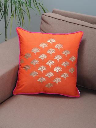 Orange-Pink Foil-printed Silk Cushion Cover