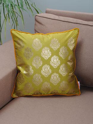 Green-Mustard Foil-printed Silk Cushion Cover