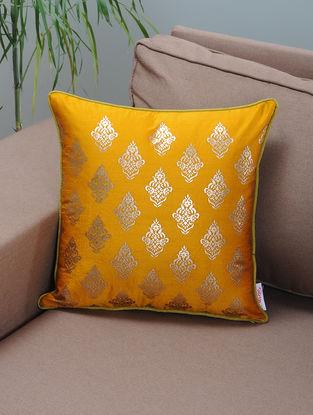 Mustard-Green Foil-printed Silk Cushion Cover