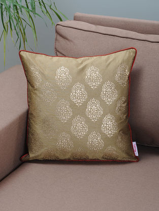 Beige-Maroon Foil-printed Silk Cushion Cover