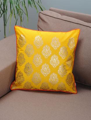 Yellow-Orange Foil-printed Silk Cushion Cover