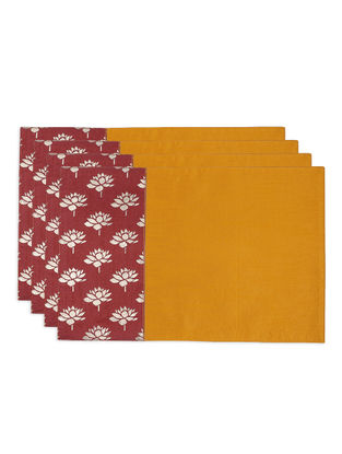 Mustard-Maroon Foil-printed Silk Placemats (Set of 4)