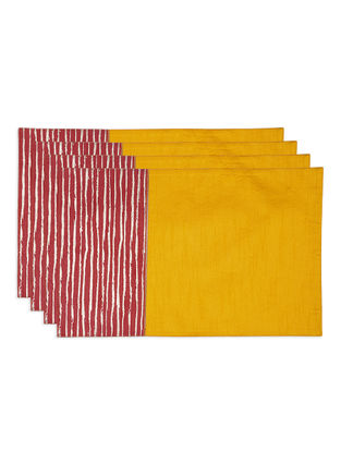 Mustard-Red Foil-printed Silk Placemats (Set of 4)