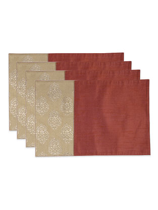 Maroon-Beige Foil-printed Silk Placemats (Set of 4)