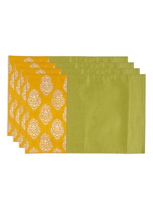Green-Mustard Foil-printed Silk Placemats (Set of 4)