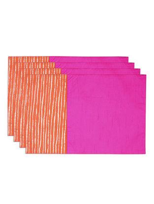 Pink-Orange Foil-printed Silk Placemats (Set of 4)