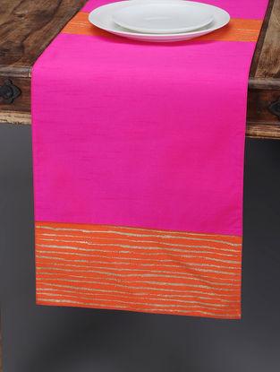 Pink-Orange Foil-printed Silk Table Runner