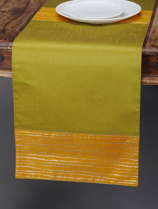 Green-Mustard Foil-printed Silk Table Runner