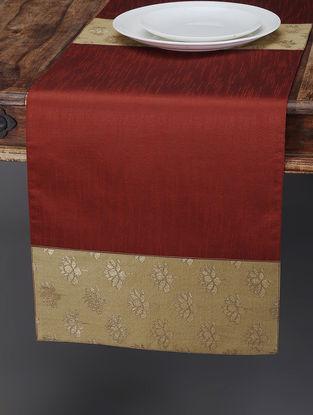 Maroon-Beige Foil-printed Silk Table Runner