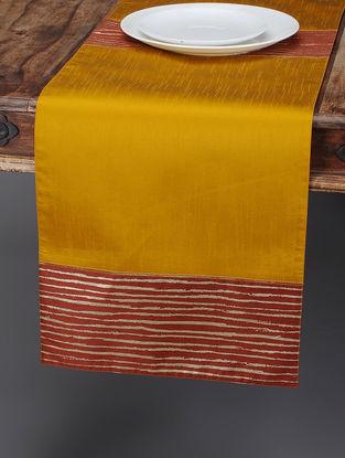 Mustard-Maroon Foil-printed Silk Table Runner