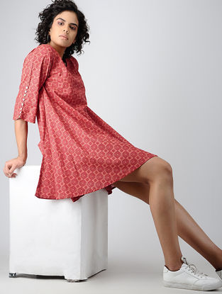 Red Printed Cotton Dress