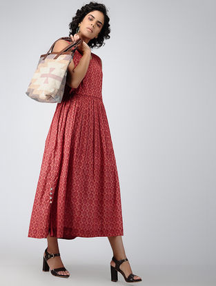 Red Printed Cotton Dress with Gathers