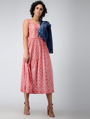 Coral Printed Cotton Dress with Gathers