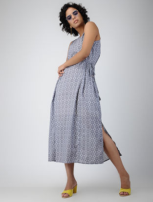 Grey Printed Tie-up Cotton Dress with Tassels