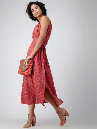 Red Printed Tie-up Cotton Dress with Tassels