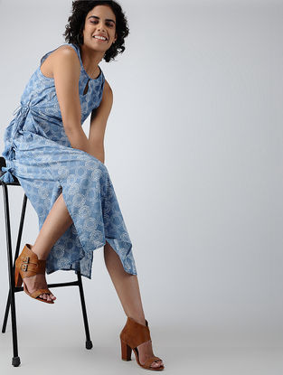 Blue Printed Tie-up Cotton Dress with Tassels