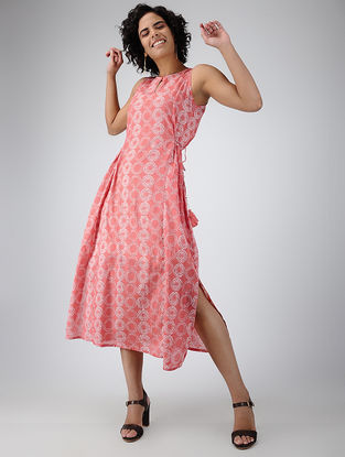 Coral Printed Tie-up Cotton Dress with Tassels