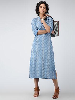 Blue Printed Cotton Dress