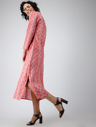 Coral Printed Cotton Dress