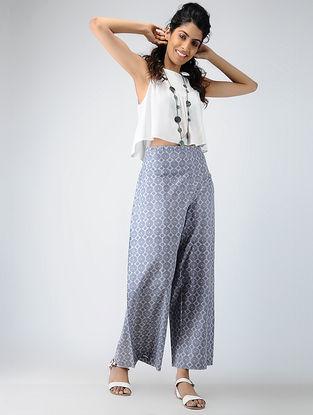 Grey Printed Cotton Tie-up Waist Pants
