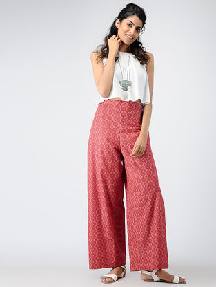 Red Printed Cotton Tie-up Waist Pants