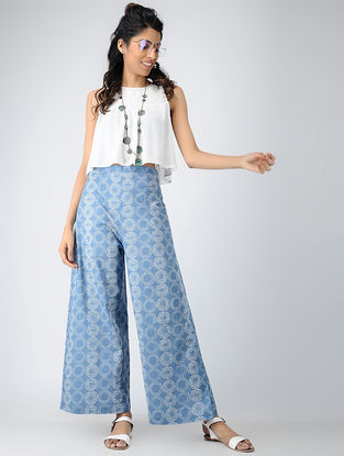Blue Printed Cotton Tie-up Waist Pants