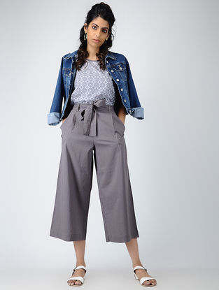 Grey Elasticated-waist Cotton Pants with Tie-up