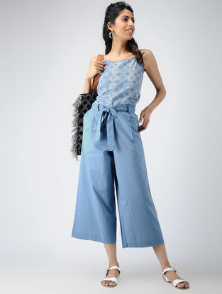 Blue Elasticated-waist Cotton Pants with Tie-up