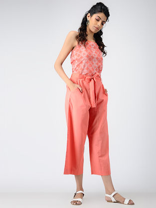 Coral Elasticated-waist Cotton Pants with Tie-up