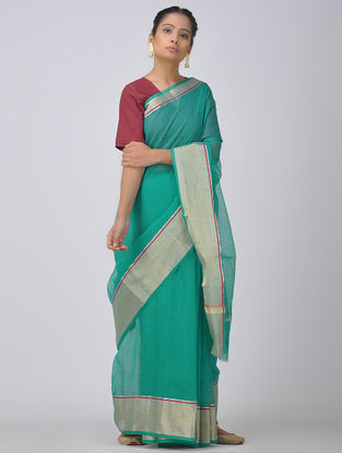 Sea Green Kota Doria Saree with Zari Border