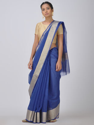 Blue Kota Doria Saree with Zari Border