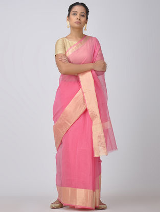 Pink Kota Doria Saree with Zari Border