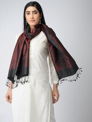 Red-Black Ikat Silk Stole