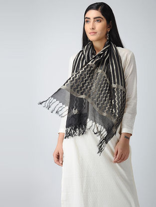 Grey-Black Crepe Silk Stole